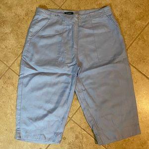 Ralph Lauren Blue Linen Capri Pants 14W